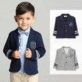 Marca 2016 nueva Primavera niños de la Universidad de la chaqueta ocasional del juego de Los Niños del estilo Británico capa del muchacho de 2-6 años de edad envío gratis