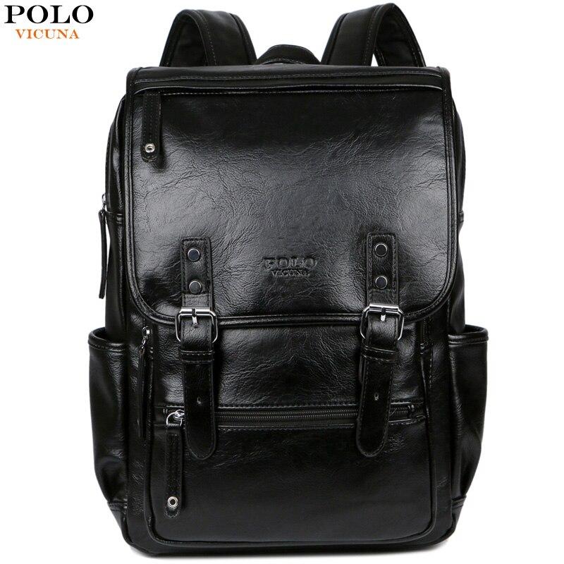 Викуньи поло мужской брендовый кожаный мужской рюкзак с пряжкой ремень Рюкзак Сумка передний карман дорожная сумка повседневная школьная ...