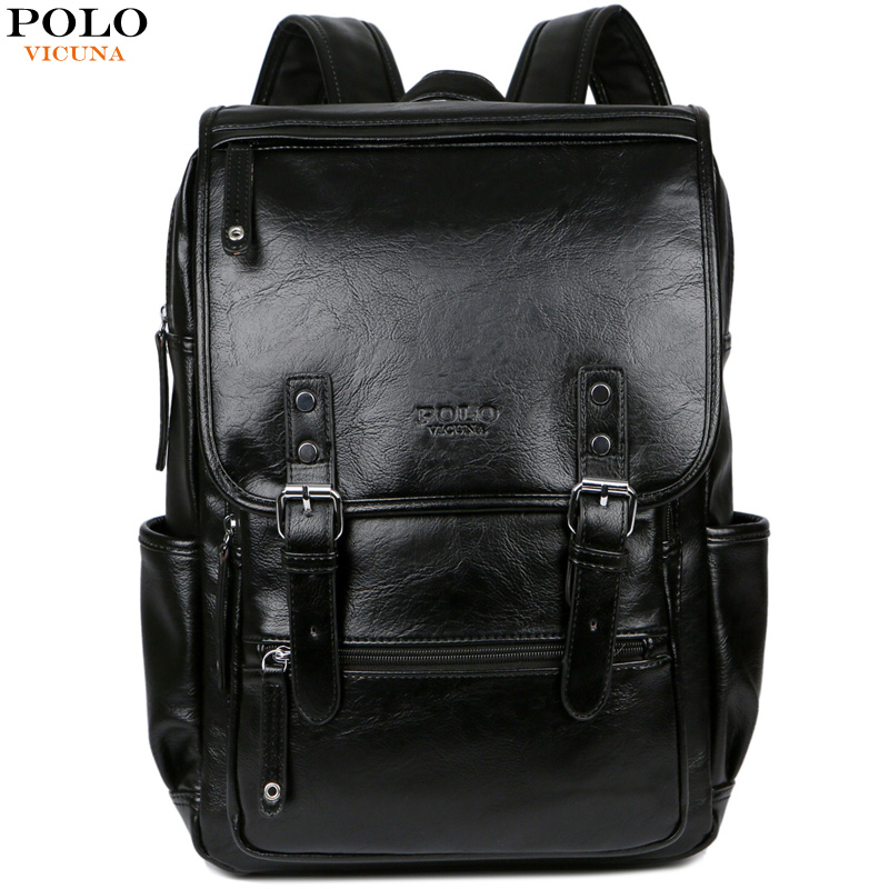 VICUNA POLO Men Brand Leather Man Backpack With Buckle Belt Daypack Bag Front Pocket Travel Bag Casual School Laptop Backpack цены
