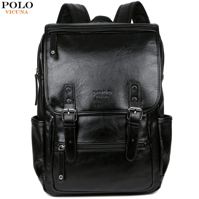 VICUNA POLO Men Brand Leather Man Backpack With Buckle Belt Daypack Bag Front Pocket Travel Bag Casual School Laptop Backpack