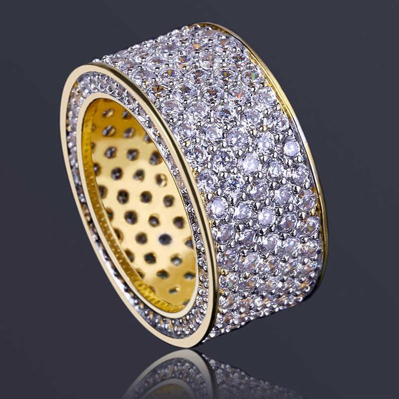 MISSFOX Hip Hop Gold แหวนผู้ชาย 5 แถวตกแต่ง Micro Pave CZ เพชร Bling แต่งงานแหวนหรูหราการตั้งค่าผู้ชายเครื่องประดับ