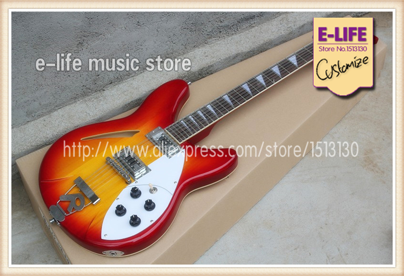good cheap price china r 12 strings semi hollow maple body electric guitar cs color in stock for. Black Bedroom Furniture Sets. Home Design Ideas