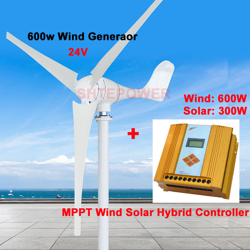 200-600W wind solar hybrid controller with 24V 600W Windmill Wind generator 5blades Max 630W power free shipping 600w wind grid tie inverter with lcd data for 12v 24v ac wind turbine 90 260vac no need controller and battery