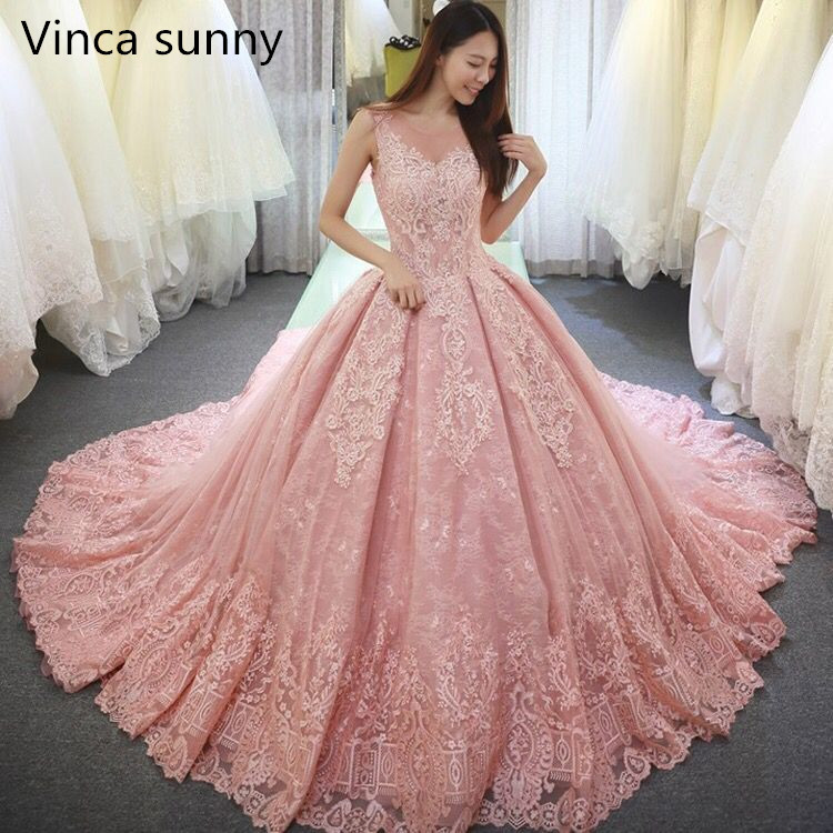Vinca sunny 2019 sans manches robes de mariée rose dentelle appliques longueur de plancher vestidos longos luxe princesse robe de mariée