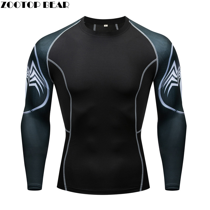 New Running Shirt Men Skull Sport T Shirt Gym Shirt Men Compression Tight Fitness Top Bodybuilding Tshirt Batman Soccer Jersey