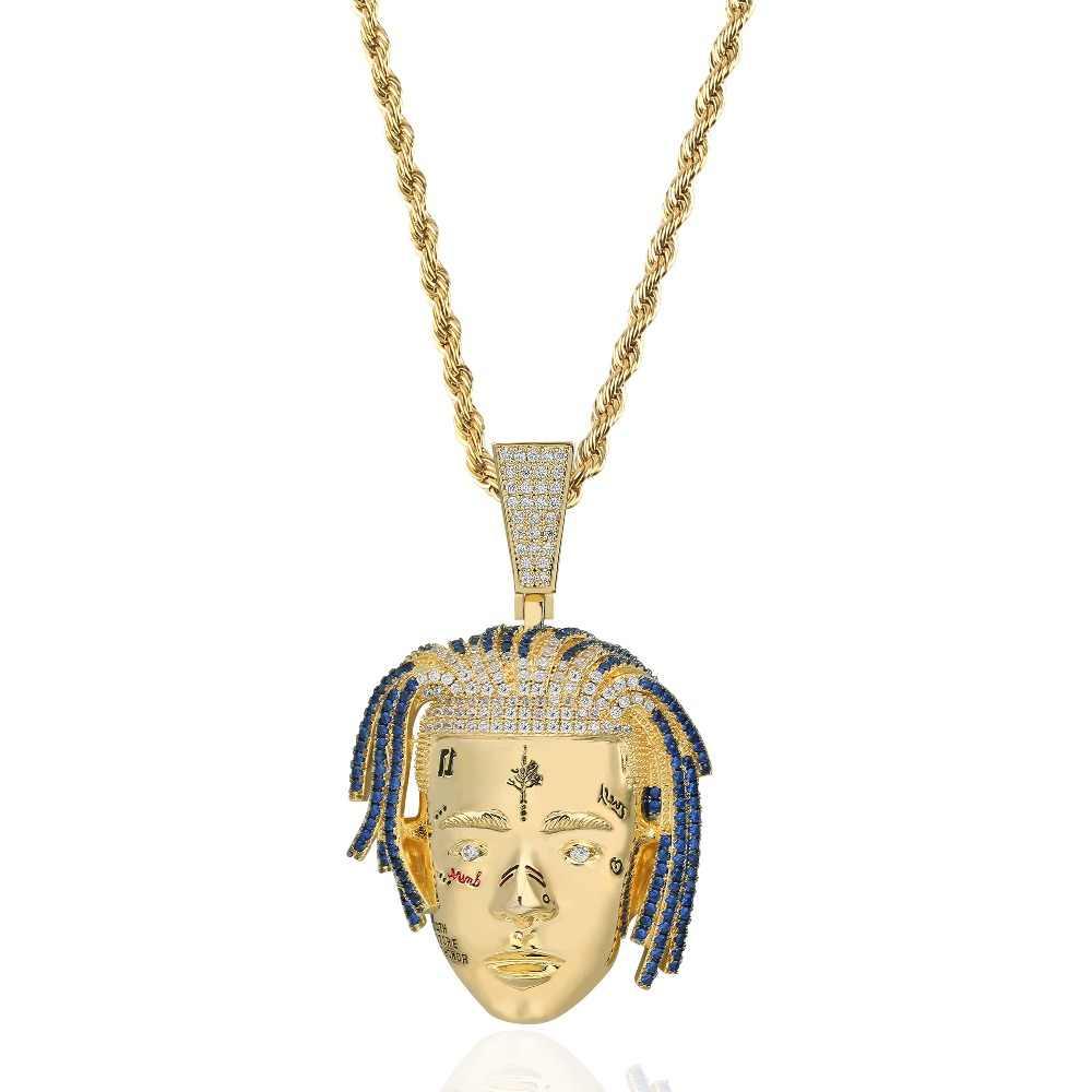 Collana con ciondolo TOPGRILLZ Rapper XXX Tentacion uomo ghiacciato catene CZ Hip Hop/Punk charms Color oro regali gioielli
