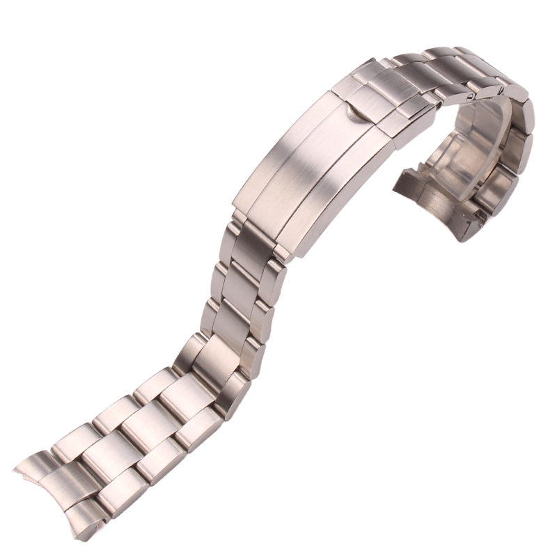 цены 20mm 316L Stainless Steel Watchbands Bracelet Silver Brushed Metal Curved End Replacement Link Deployment Clasp Watch Strap
