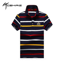 ACEMIRIZ 2017 New Short Sleeve Striped Polo Shirts For Men Summer Turn-down Collar M-4XL HT-1735