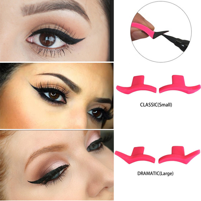 1 Pair Portable Professional Simple Soft Makeup Tool Silicone Easy To Wear Waterproof Wing Seals Cosmetic Models Eyeliner Stamp 3