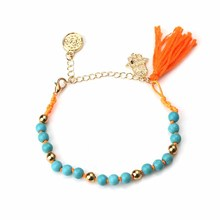 Korean Jewelry elegent 7 colors gold beads natural stone beads hamsa evil eye charm bracelet