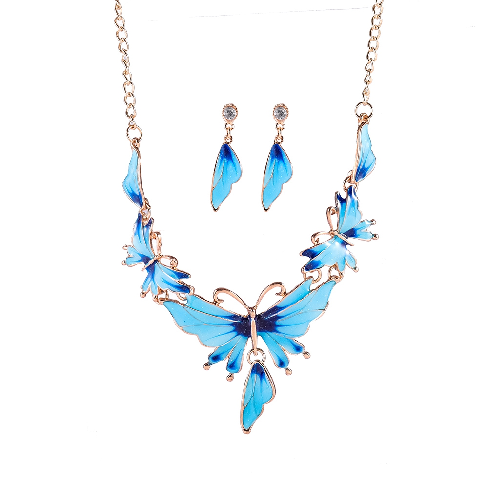 Women Leaf Stud Earrings Butterfly Collar Necklace Fashion Wedding Lucite Jewelry Set