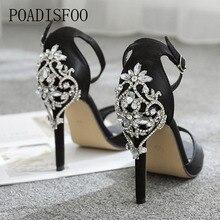 Kadınlar seksi kristal sandalet kadın ayakkabısı lüks büyük taklidi Stiletto sandalet 11.5cm topuk sandalet damla satış
