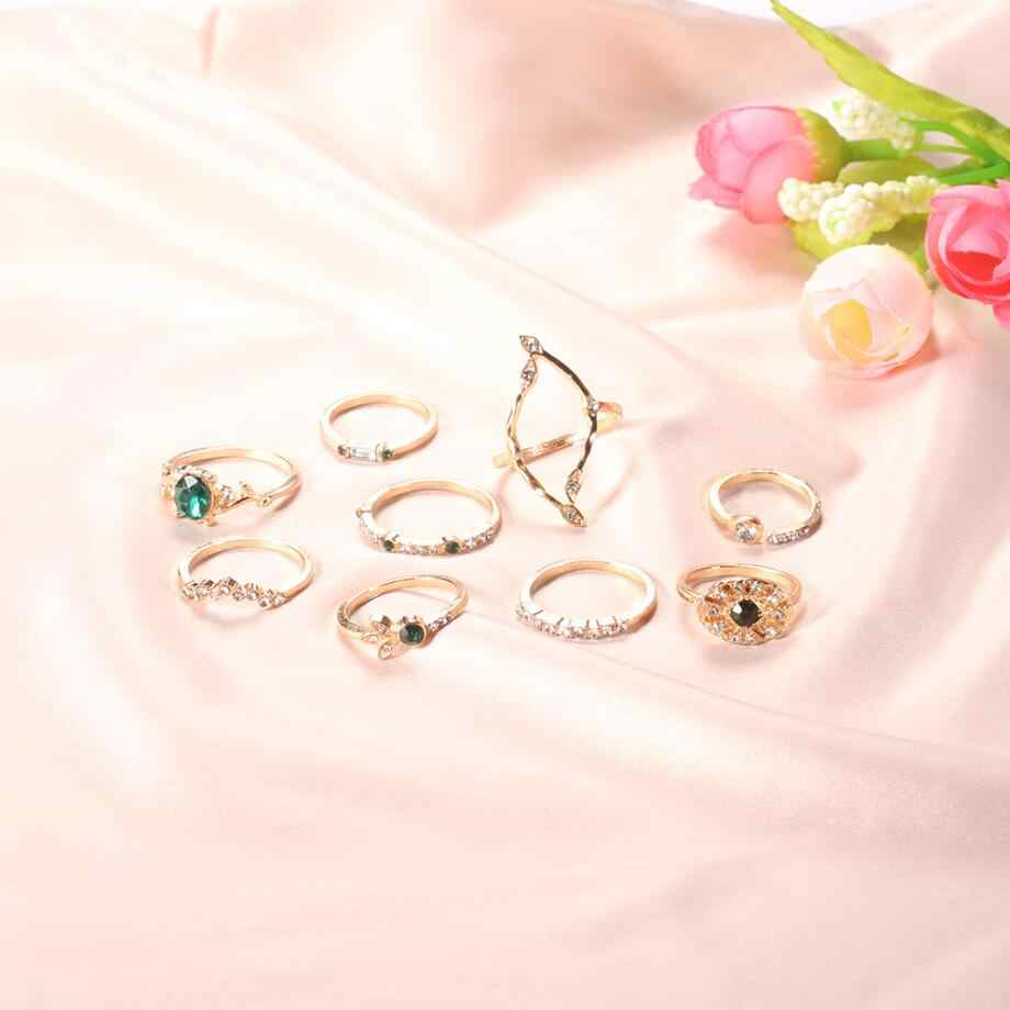 9 Pcs 2019 בוהמי ירוק קריסטל גיאומטריה כתר פרח לב כוכב אופל טבעות סט מסיבת נשים תכשיטי זהב אצבע טבעת מתנה