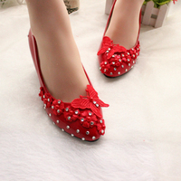 5CM HEEL red lace flower pumps shoes for woman med middle heel lace crystal rhinestone NQ278 butterfly ornament proms party shoe