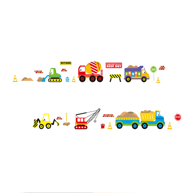 Digger building construction truck Cars stickers wall decals kids bedroom diy