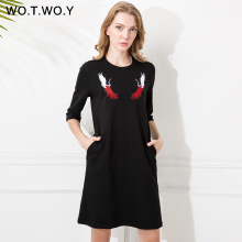Здесь можно купить  WOTWOY Cranes Embroidery Shirt Dress Beading Designs Women 2017 Pockets O-Neck Cotton Casual Loose Dresses Black T Shirt Dress