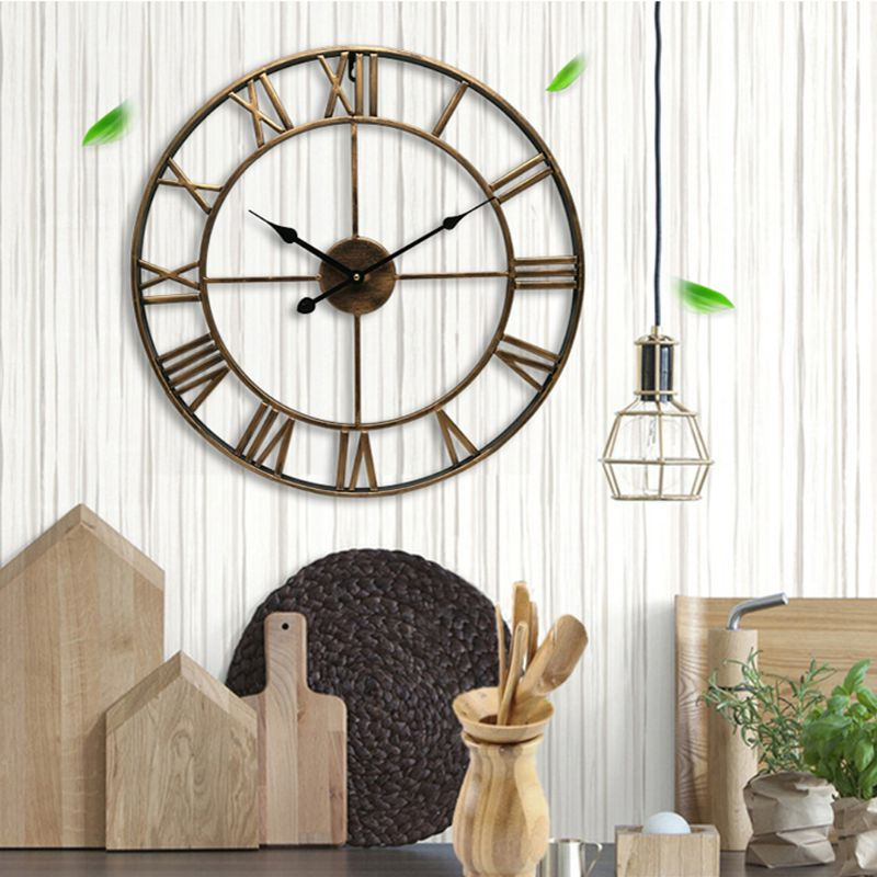 DIY Large 3D Wall Clock Sticker Metal Watches Roman Numeral Silent Non-ticking Decorative For Cafe Loft Hotel Bar Office Living