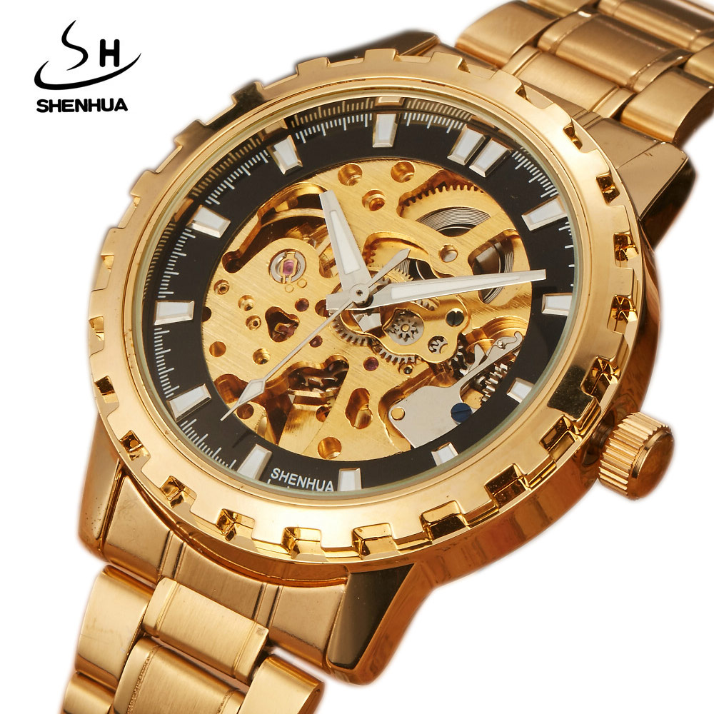 2017 New Luxury Golden Mechanical Automatic Wristwatches For Men Womens Stainless Steel Band Scale Skeleton Dial Mens Watch Time luxury brand golden winner luminous automatic mechanical skeleton dial watch mens stainless steel bracelet band men wristwatch