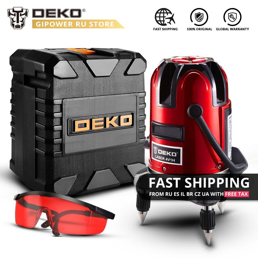 DEKO LL58 Indoor/Ao Ar Livre Receptor de Modo 5 Linhas 6 Pontos 360 Graus Ajuste Rotativo Nível Do Laser 635nm de Alta Visibilidade BMC Conjunto