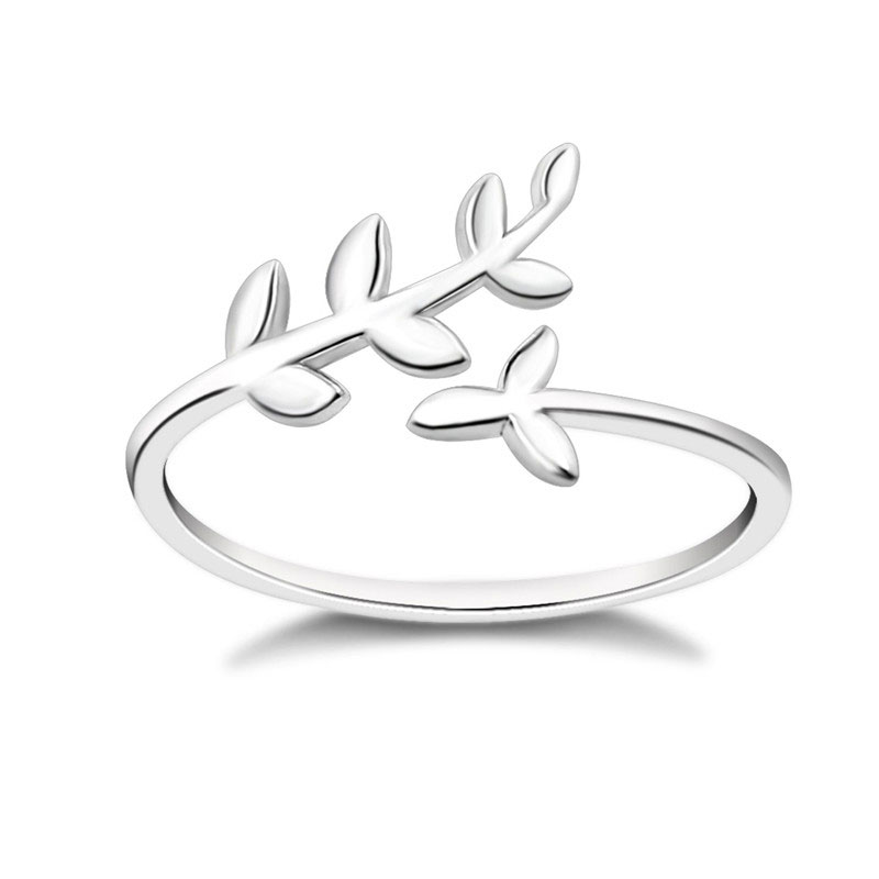 2019 Women 39 s Fashion Leaf Jewelry 925 Sterling Silver Olive Leaf Rings White Gold Plated Silver Rings engagement ring lover gift in Rings from Jewelry amp Accessories