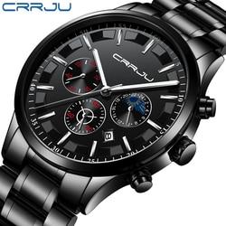 Mężczyzna zegarek luksusowy zegarek kwarcowy męski zegarek na co dzień CRRJU top marka męskie zegarki na rękę zegarek na rękę wodoodporne męskie sportowe zegar Relogio Masculino|Zegarki kwarcowe|   -