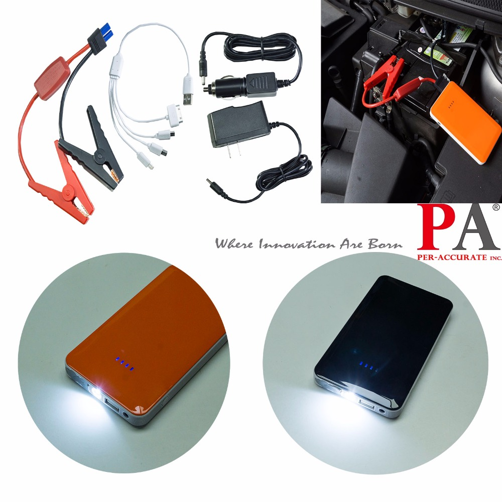 PA LED 1SET x Black Orange 12V Car Multi Function Jump Starter Battery Charger Power Bank