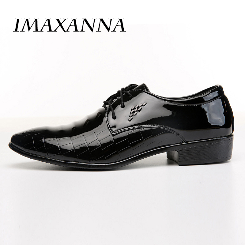 IMAXANNA New 2018 Fashion Leather Men Dress Shoes Pointed Toe Oxfords Shoes For Men Lace Up Designer Luxury Men Shoes
