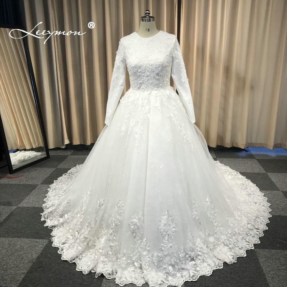 Leeymon μακρύ μανίκι Vintage δαντέλα νυφικό - Γαμήλια φορέματα - Φωτογραφία 4