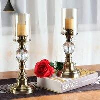 Enfeites Para Casa Decoracao Arredo Candlesticks Home Accents Vintage Candle Holders Lantern Candlestick Glass Candelabros 5Z25