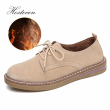 Hosteven Women Shoes Casual Sneakers Flats Moccasins Genuine Leather Oxford Plush Mother Girls Fashion Warm Winter