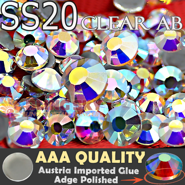 Great Quality!AAA HotFix Rhinestones SS20 Clear AB Crystal 1440pcs/Bag FlatBack strass glass stone for Trim DIY garment clothing
