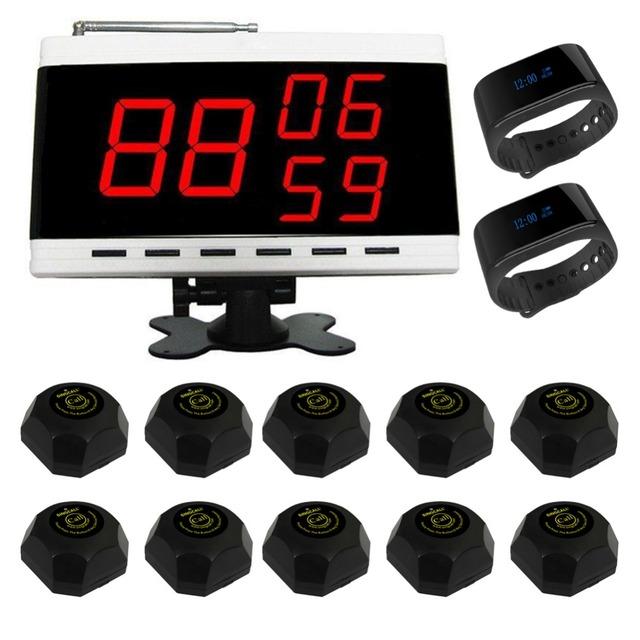 Singcall restaurante pager sistemas de servicio al cliente número 1 blanco pantalla receptor 2 nuevo reloj resistente al agua y 10 botones individuales