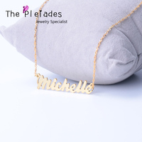 Sterling Silver Custom Name Necklace with Wave Chain Special Design Necklace Personalized Jewelry For Women