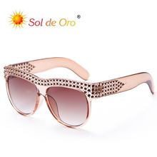 SOL DE ORO Women Luxury Diamond Sunglasses Ladies Oversized Frame Vintage Retro Fshion Trend