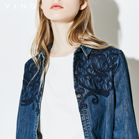 Ving Brand New Autumn Embroidery Pattern Denim Shirt Women Clothing Jeans Shirt Vintage Camisa Jeans Blusas