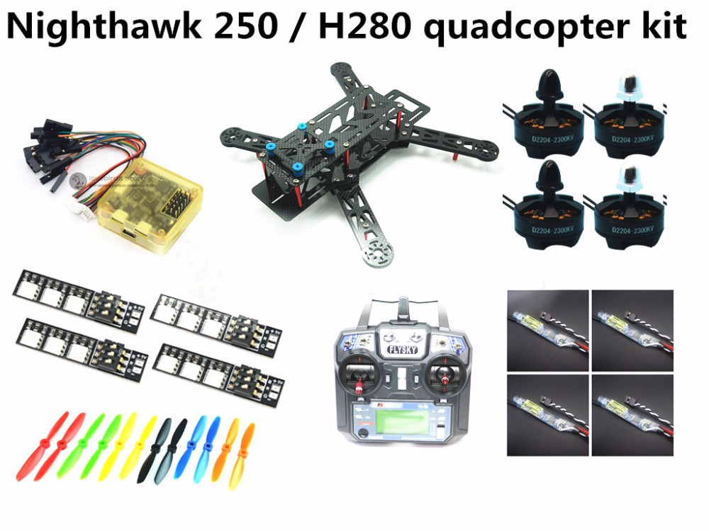 DIY mini drone nighthawk 250 / H280 pure carbon quadcopter kit + D2204 2300KV motor + Dragonfly BL20A ESC OPTO + CC3D + FS-i6 diy mini fpv 250 racing quadcopter carbon fiber frame run with 4s kit cc3d emax mt2204 ii 2300kv dragonfly 12a esc opto