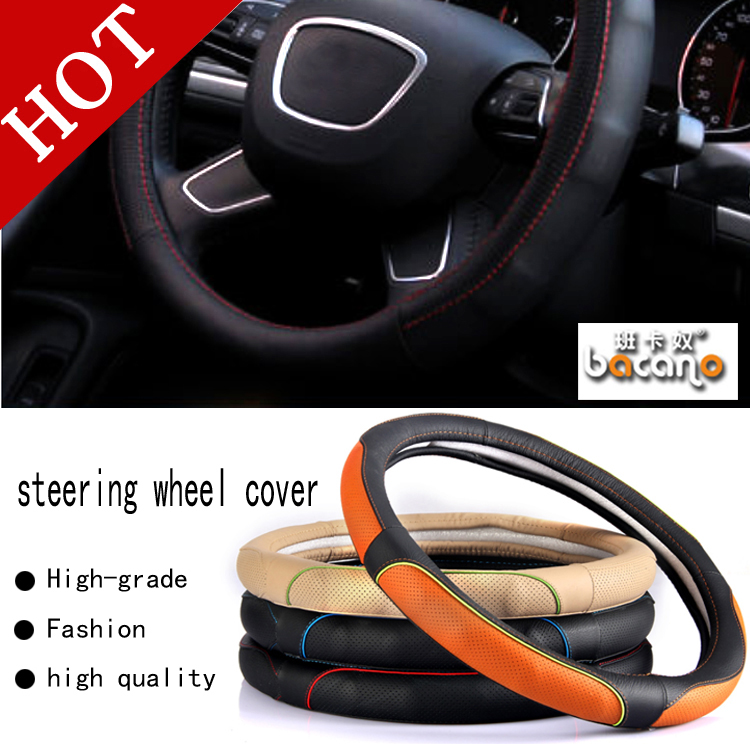 HOT SALE Car Leather Steering Wheel Covers Fit 95% Car Styling for audi/vw/ford/toyota/nissan etc.,size 38cm Cheap&High Quality