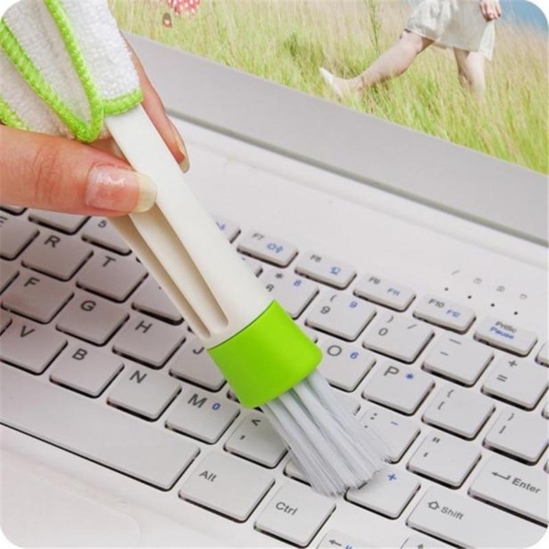 Teclado colector de polvo Herramientas de limpieza de ordenador limpiador de persianas de ventana 16,5*4 cm práctico cepillo de limpieza de ventana de doble cabeza #82330