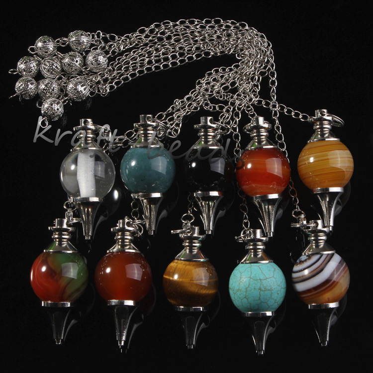 Image 2 - wholesale 10 Pcs Charm mixture precious stone Silvery Metal Ball  Chain Dowsing Healing Chakra Pendulum Gifthealing chakrachakra  pendulumprecious stones