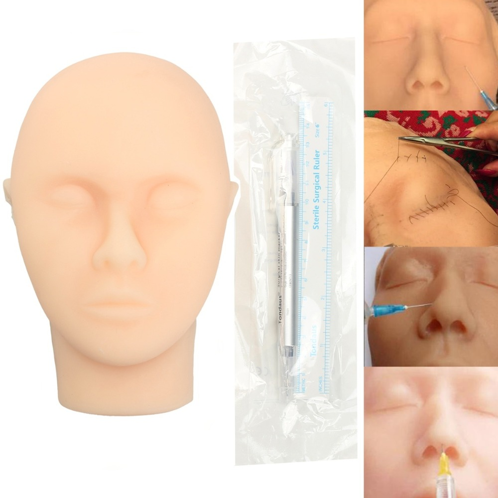 Silicone Skin Suture Facial Model Head Medical Mini-plastic Surgery Learning Practice Tools