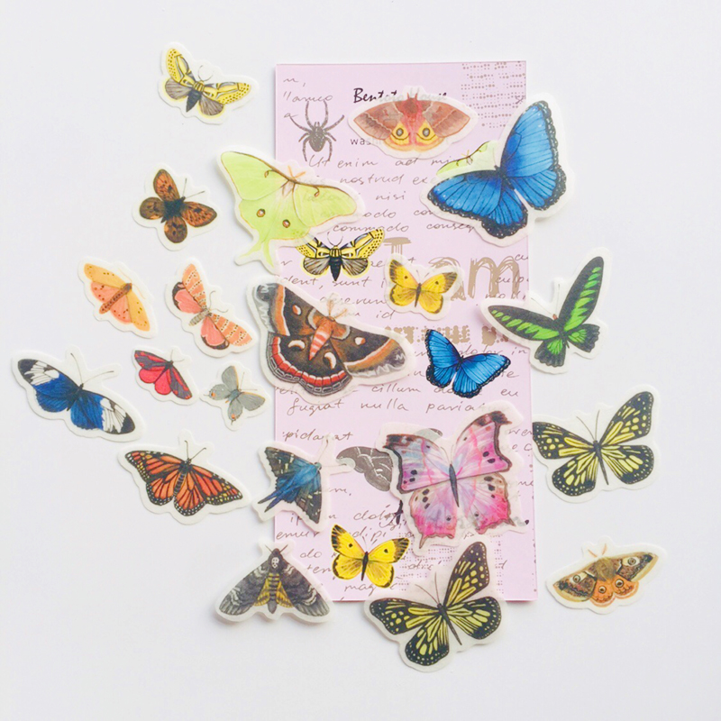 36PCS /Pack Vintage Style Butterfly Washi Paper Adhesive Stickers Stick Label Decoration Stickers