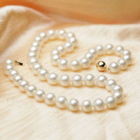 HOT## Wholesale > fashion AAA genuine 8 9mm white cultured pearl necklace /585 solid gold clasp