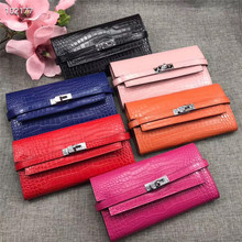 Leather fashion female crocodile leather wallet Polyester casual buckle flip soft new clutch Coin purse hand hold casual wallet
