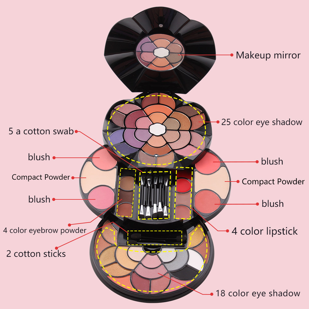 Multifunctional Cosmetics Palette 43 Colors Eyeshadow with Blush Pressed Powder Kit MH88 in Makeup Sets from Beauty Health