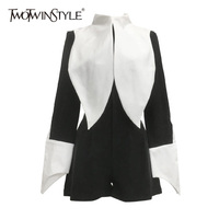 TWOTWINSTYLE Playsuit For Women Patchwork Stand Collar Long Sleeve Irregular Cuff High Waist Jumpsuit Female 2018