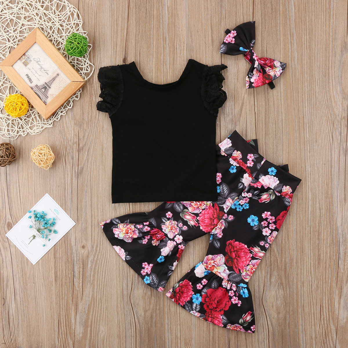 Infant Baby Girl enfants Long Sleeve Floral Ange Combinaison Combinaison vêtements Outfit