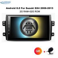 Funrover 9 Android 8,0 автомобилей Радио для Suzuki SX4 2006 2013 1024*600 4 ядра Wi Fi Bluetooth видео аудио мультимедиа 2 din no dvd