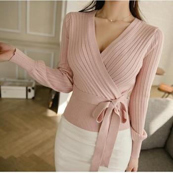 Elegant Pink V Neck Lantern Sleeve Lacing up Wrap Sweater Women 2019 Spring Fall Black OL Cardigan Knitted Jumper Ladies Tops