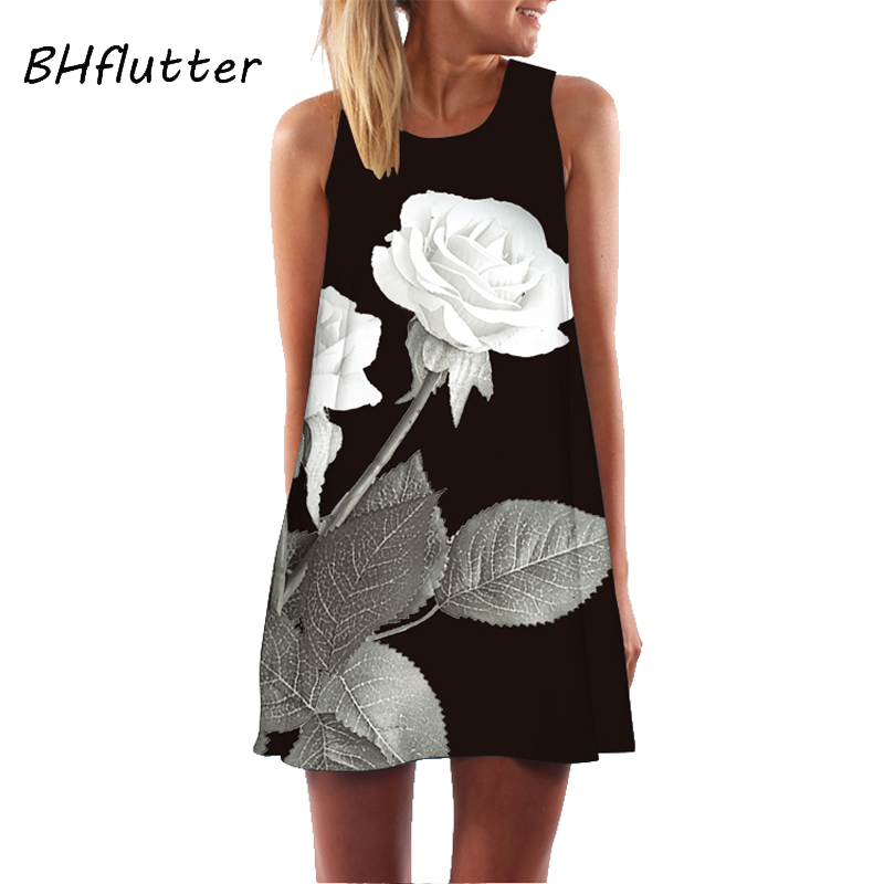 BHflutter Women 2018 Rose Print Sleeveless Summer O neck Casual Mini Dresses Vestidos