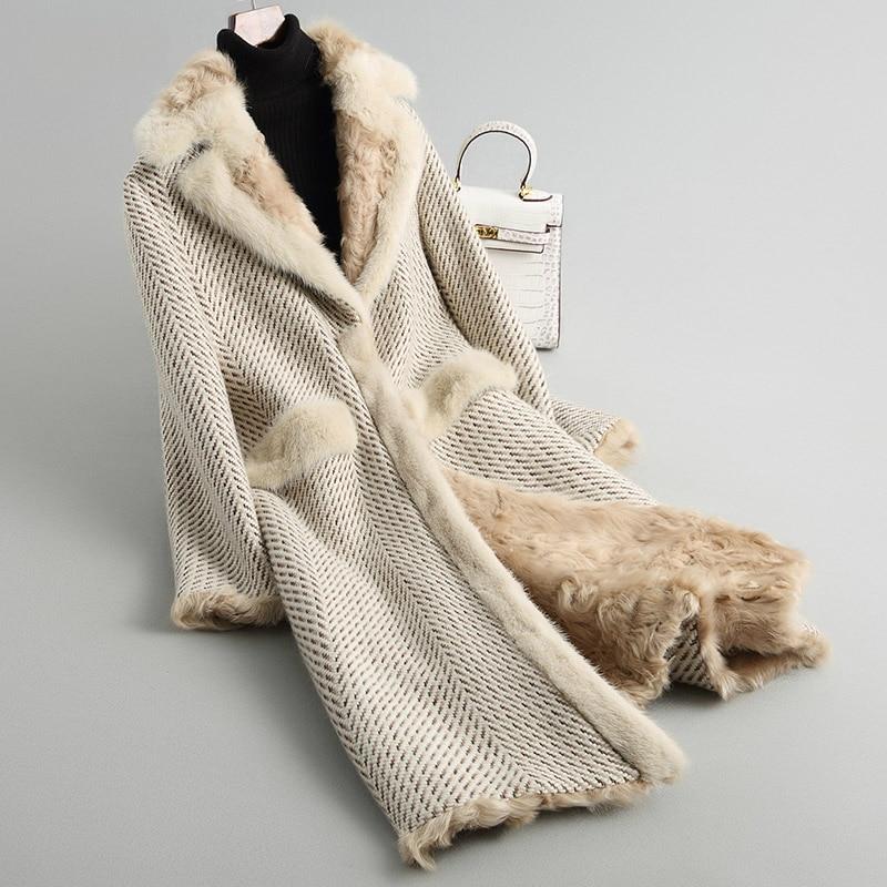 Tweed Beige Col Manteaux Femelle Vison Z367 D'hiver Chaud Veste Nouvelle Long Femmes Épais Vraies De Laine Mode Manteau Fourrure D'agneau Naturel wRq8xBfU